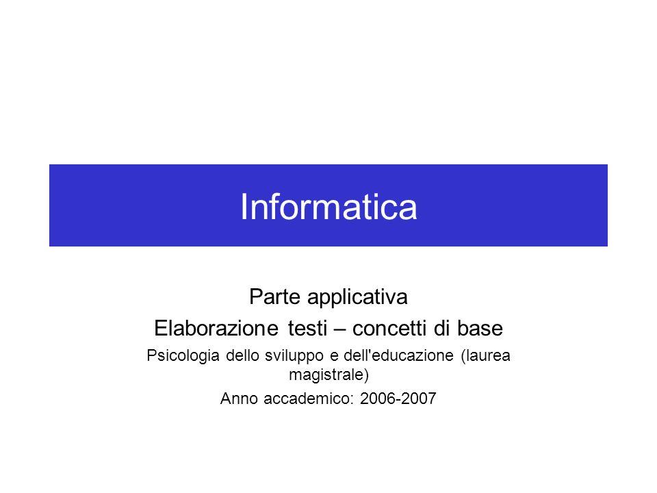 Informatica Parte applicativa Elaborazione testi – concetti di base