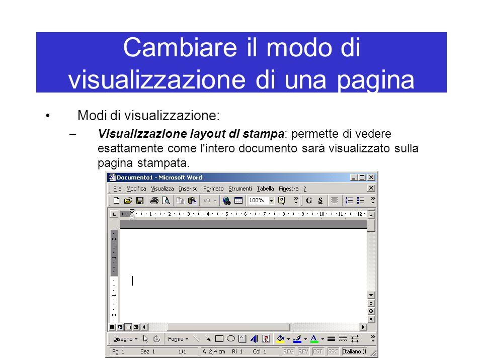 Cambiare il modo di visualizzazione di una pagina