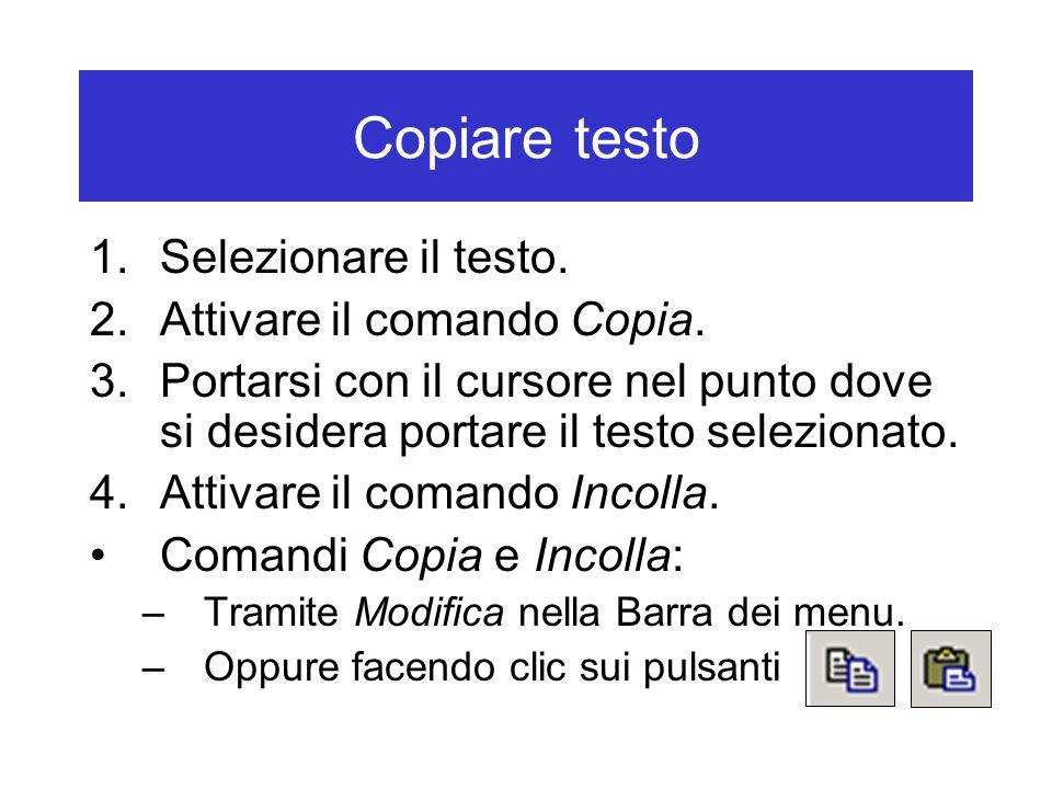Copiare testo Selezionare il testo. Attivare il comando Copia.