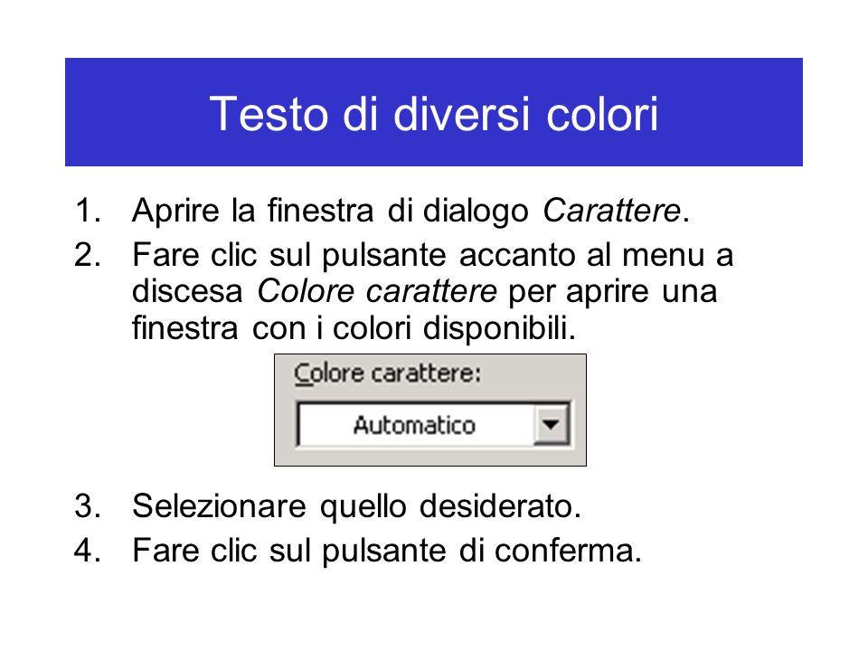 Testo di diversi colori