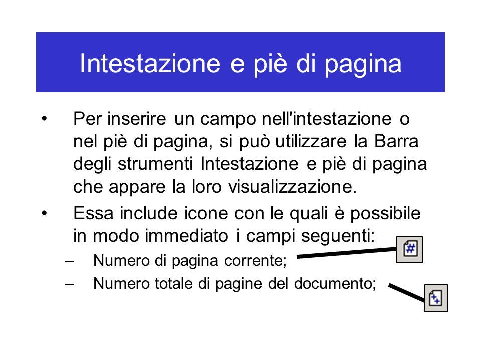Intestazione e piè di pagina
