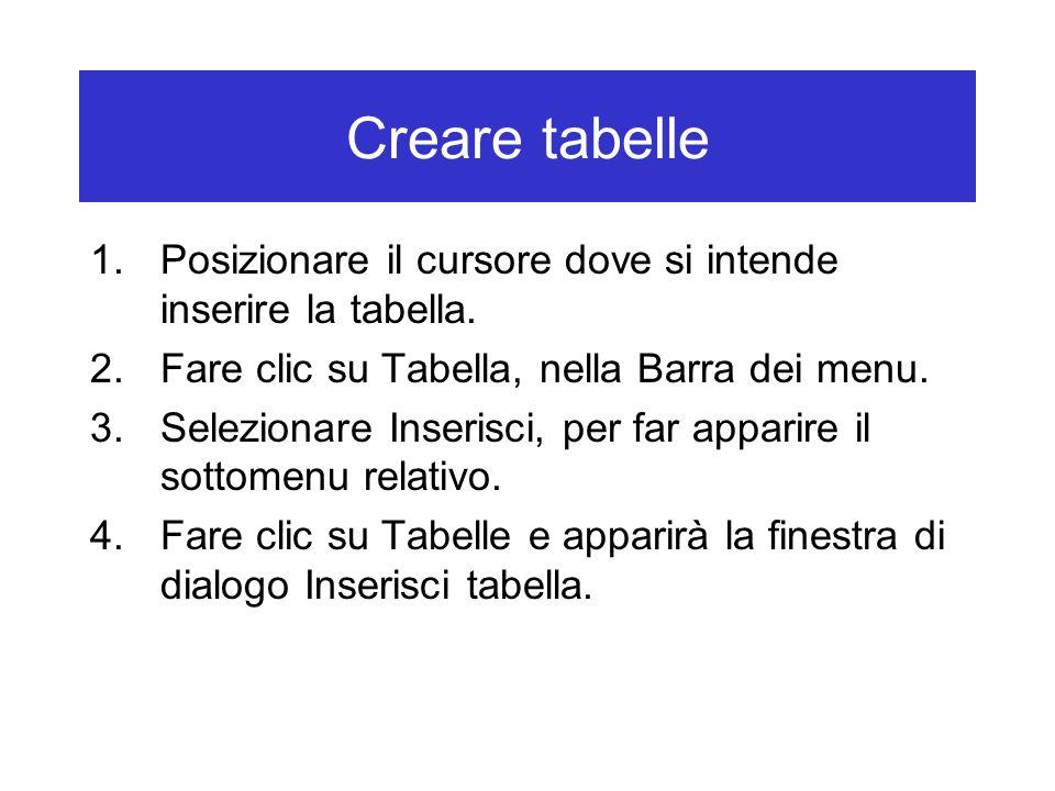 Creare tabelle Posizionare il cursore dove si intende inserire la tabella. Fare clic su Tabella, nella Barra dei menu.