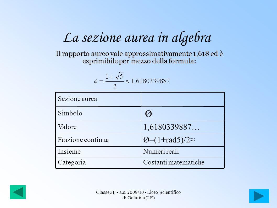 La sezione aurea in algebra