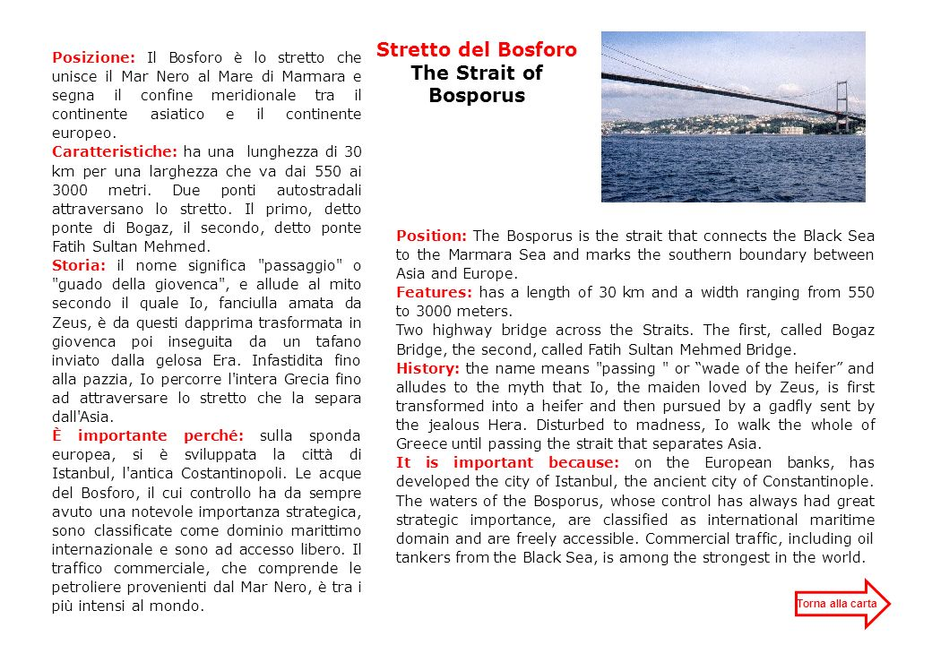 Stretto del Bosforo The Strait of Bosporus