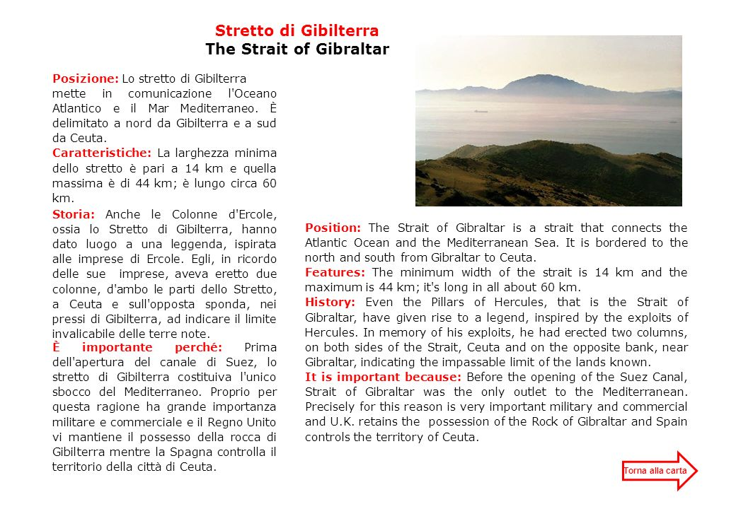 Stretto di Gibilterra The Strait of Gibraltar