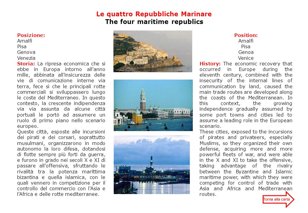 Le quattro Repubbliche Marinare The four maritime republics
