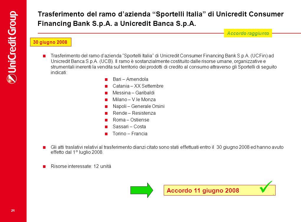 Trasferimento del ramo d'azienda Sportelli Italia di Unicredit Consumer Financing Bank S.p.A. a Unicredit Banca S.p.A.