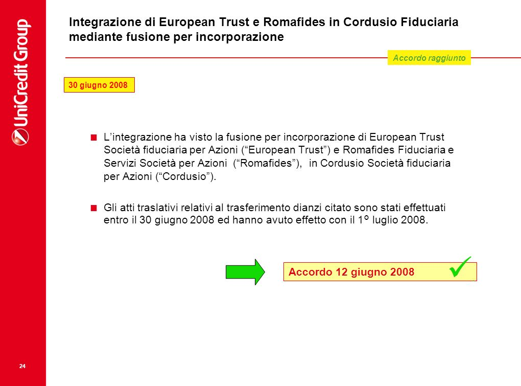 Integrazione di European Trust e Romafides in Cordusio Fiduciaria mediante fusione per incorporazione