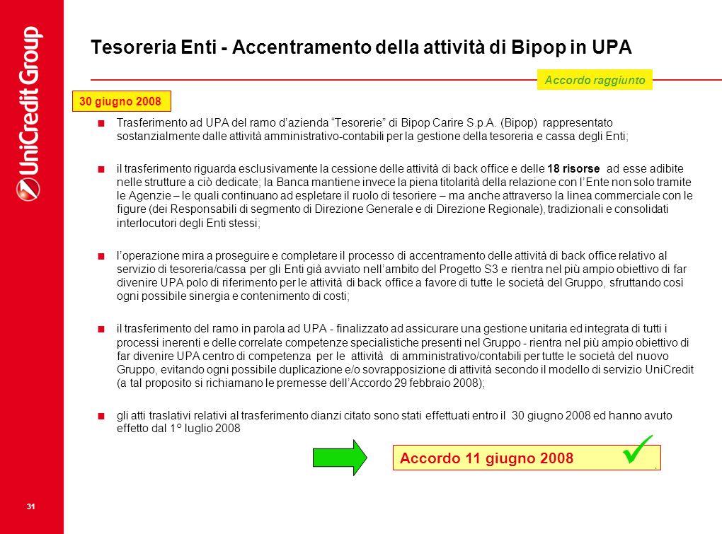 Tesoreria Enti - Accentramento della attività di Bipop in UPA
