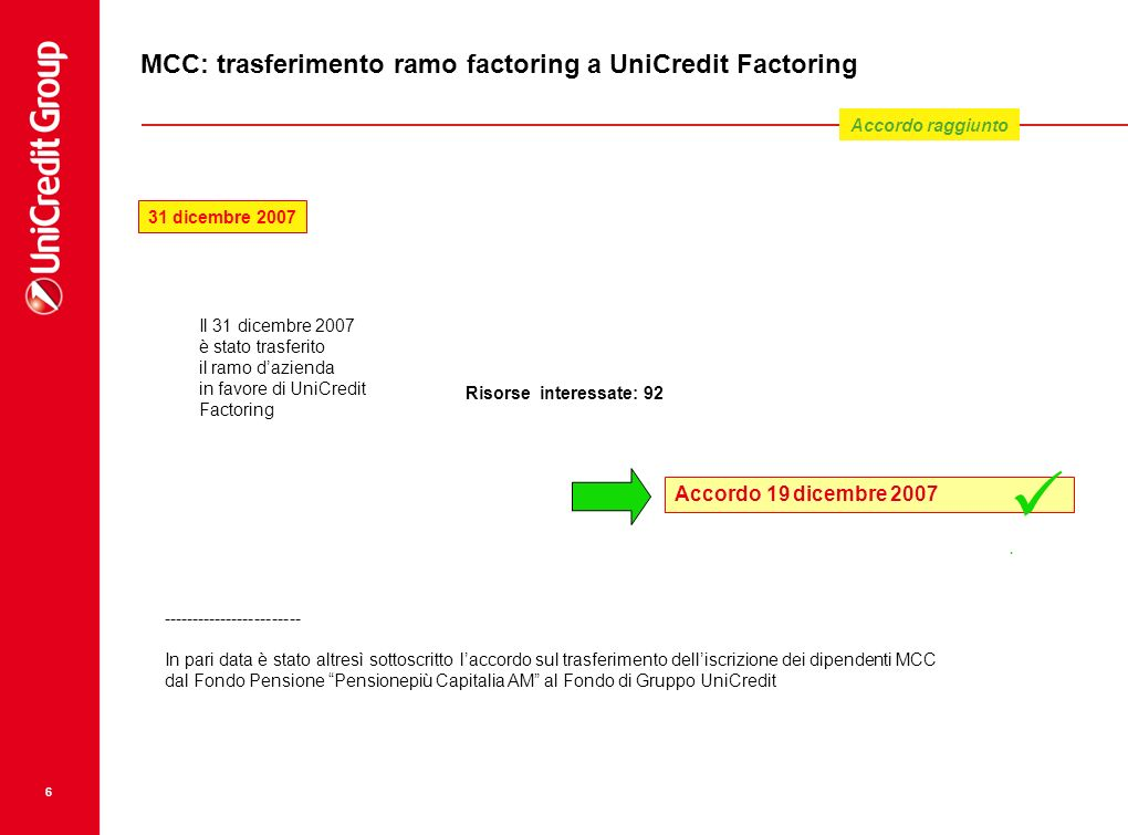 MCC: trasferimento ramo factoring a UniCredit Factoring