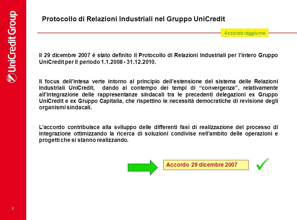 Protocollo di Relazioni Industriali nel Gruppo UniCredit