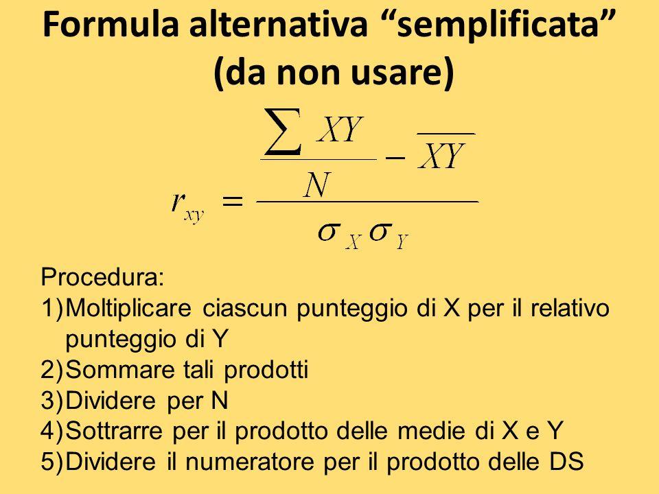 Formula alternativa semplificata (da non usare)