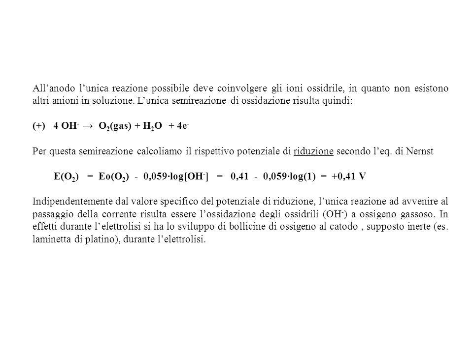 All'anodo l'unica reazione possibile deve coinvolgere gli ioni ossidrile, in quanto non esistono altri anioni in soluzione. L'unica semireazione di ossidazione risulta quindi: