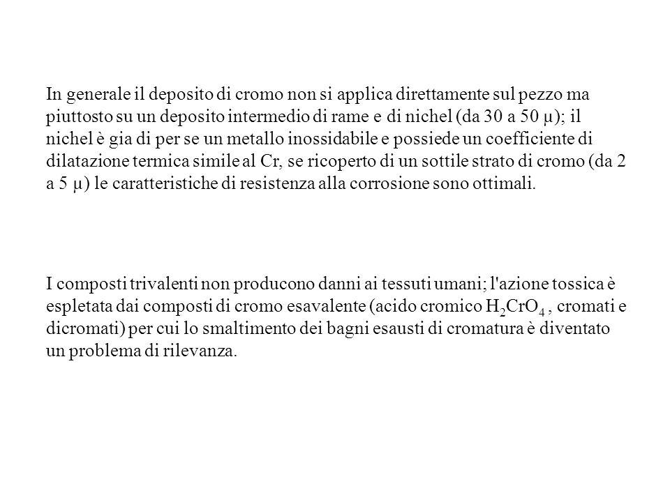 In generale il deposito di cromo non si applica direttamente sul pezzo ma piuttosto su un deposito intermedio di rame e di nichel (da 30 a 50 µ); il nichel è gia di per se un metallo inossidabile e possiede un coefficiente di dilatazione termica simile al Cr, se ricoperto di un sottile strato di cromo (da 2 a 5 µ) le caratteristiche di resistenza alla corrosione sono ottimali.