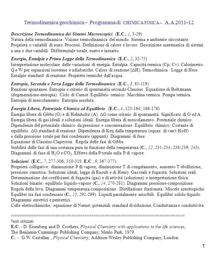 Termodinamica geochimica - Programma di CHIMICA FISICA – A.A 2011-12