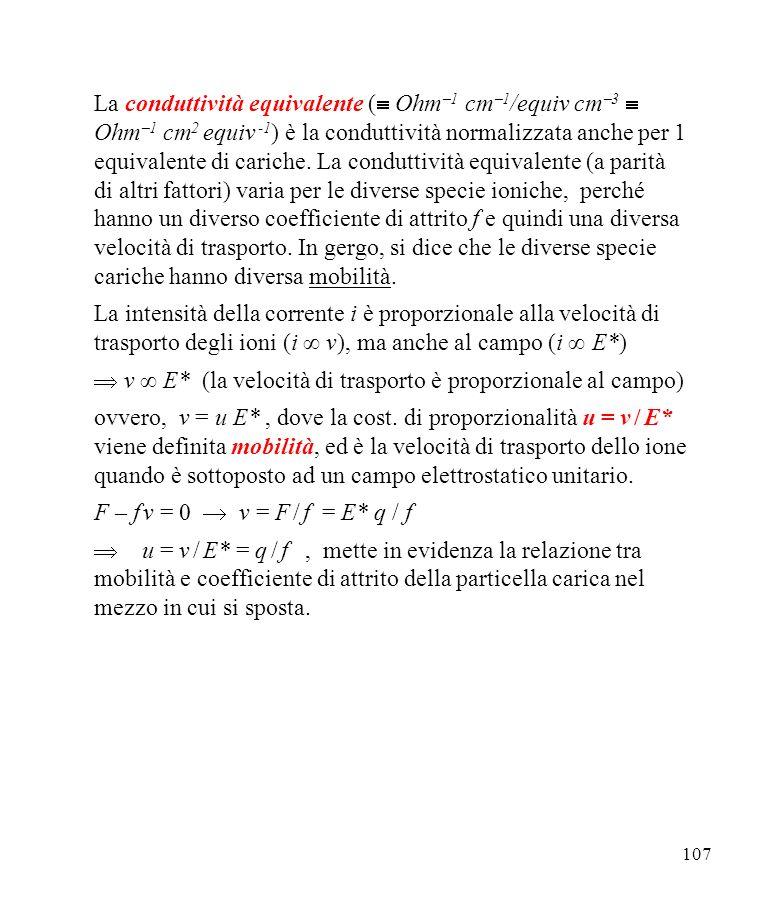  v ∞ E* (la velocità di trasporto è proporzionale al campo)