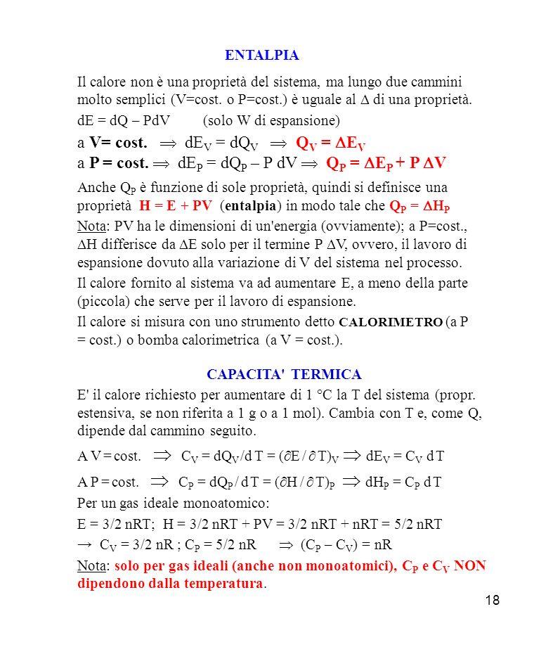 a V= cost.  dEV = dQV  QV = DEV