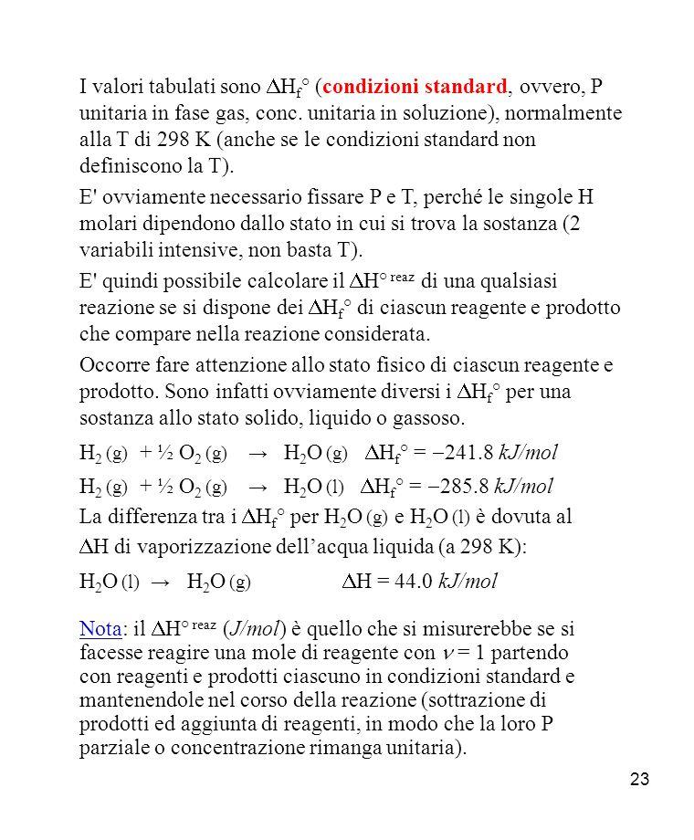 I valori tabulati sono DHf° (condizioni standard, ovvero, P unitaria in fase gas, conc. unitaria in soluzione), normalmente alla T di 298 K (anche se le condizioni standard non definiscono la T).