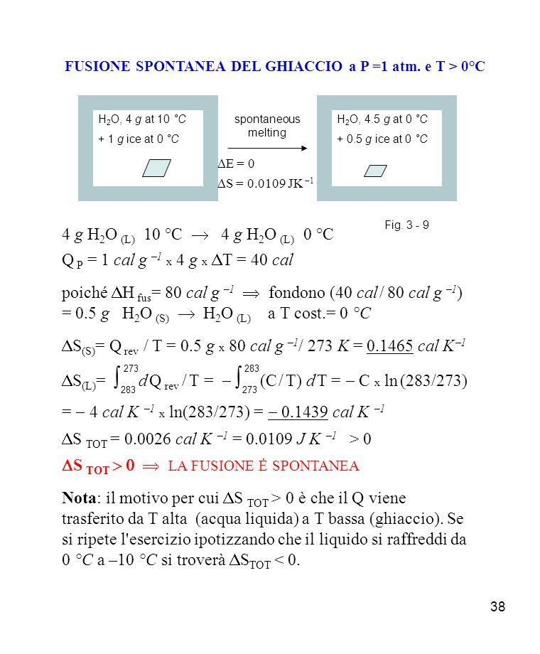 FUSIONE SPONTANEA DEL GHIACCIO a P =1 atm. e T > 0°C