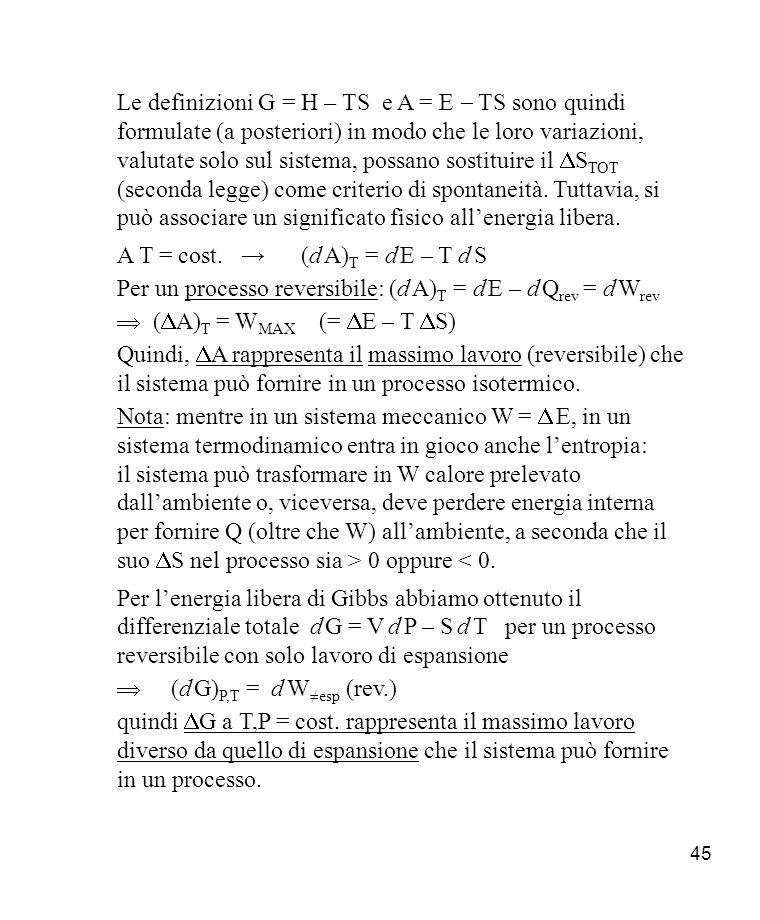Le definizioni G = H – TS e A = E - TS sono quindi formulate (a posteriori) in modo che le loro variazioni, valutate solo sul sistema, possano sostituire il DSTOT (seconda legge) come criterio di spontaneità. Tuttavia, si può associare un significato fisico all'energia libera.