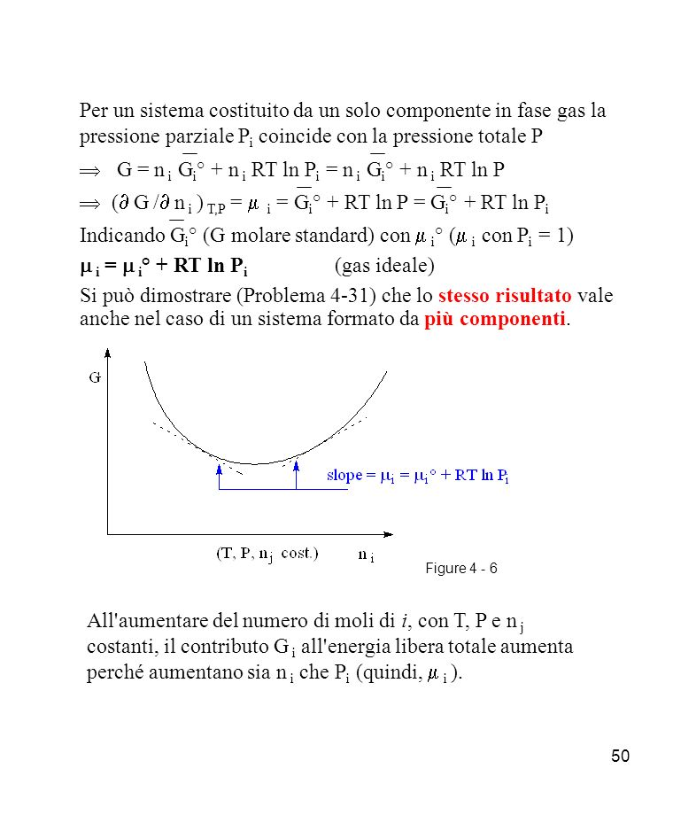  G = n i Gi° + n i RT ln Pi = n i Gi° + n i RT ln P