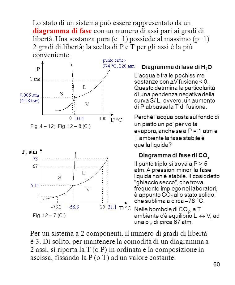 Lo stato di un sistema può essere rappresentato da un diagramma di fase con un numero di assi pari ai gradi di libertà. Una sostanza pura (c=1) possiede al massimo (p=1) 2 gradi di libertà; la scelta di P e T per gli assi è la più conveniente.