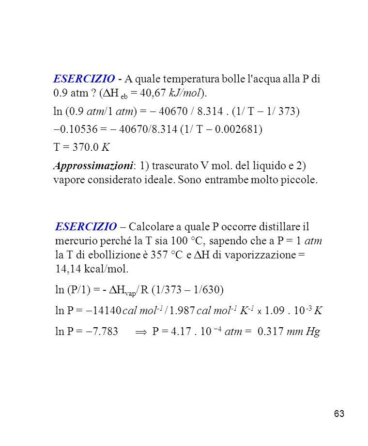 ESERCIZIO - A quale temperatura bolle l acqua alla P di 0. 9 atm