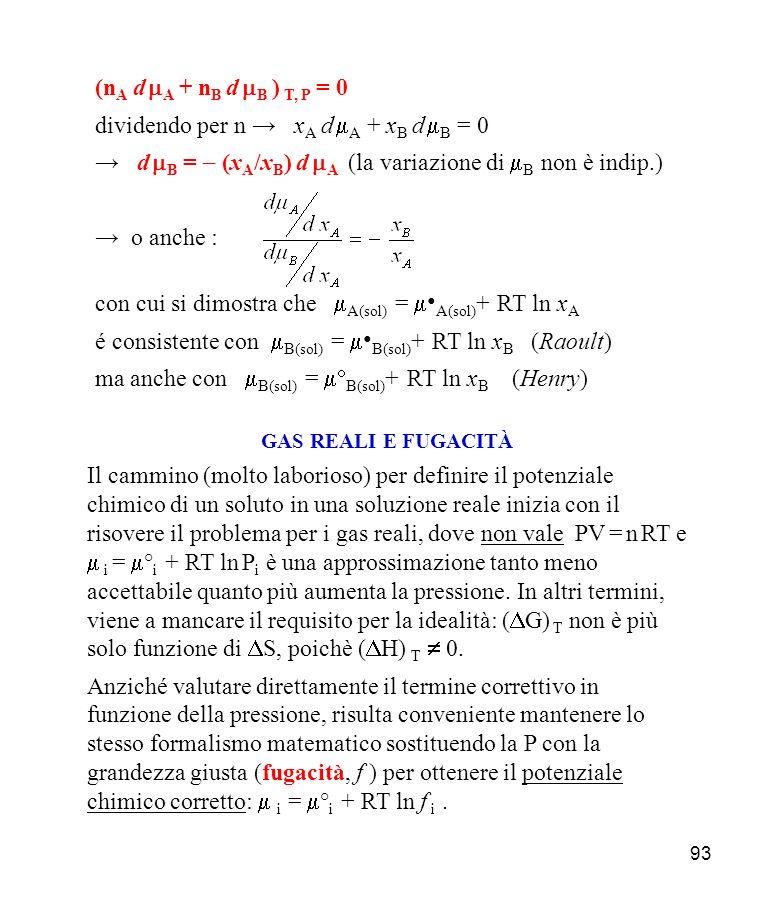 dividendo per n → xA d mA + xB d mB = 0