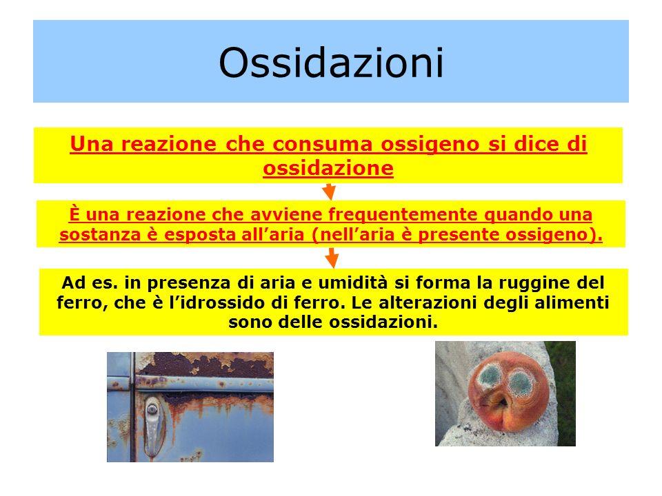 Una reazione che consuma ossigeno si dice di ossidazione