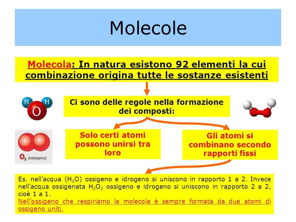 Molecole Molecola: In natura esistono 92 elementi la cui combinazione origina tutte le sostanze esistenti.