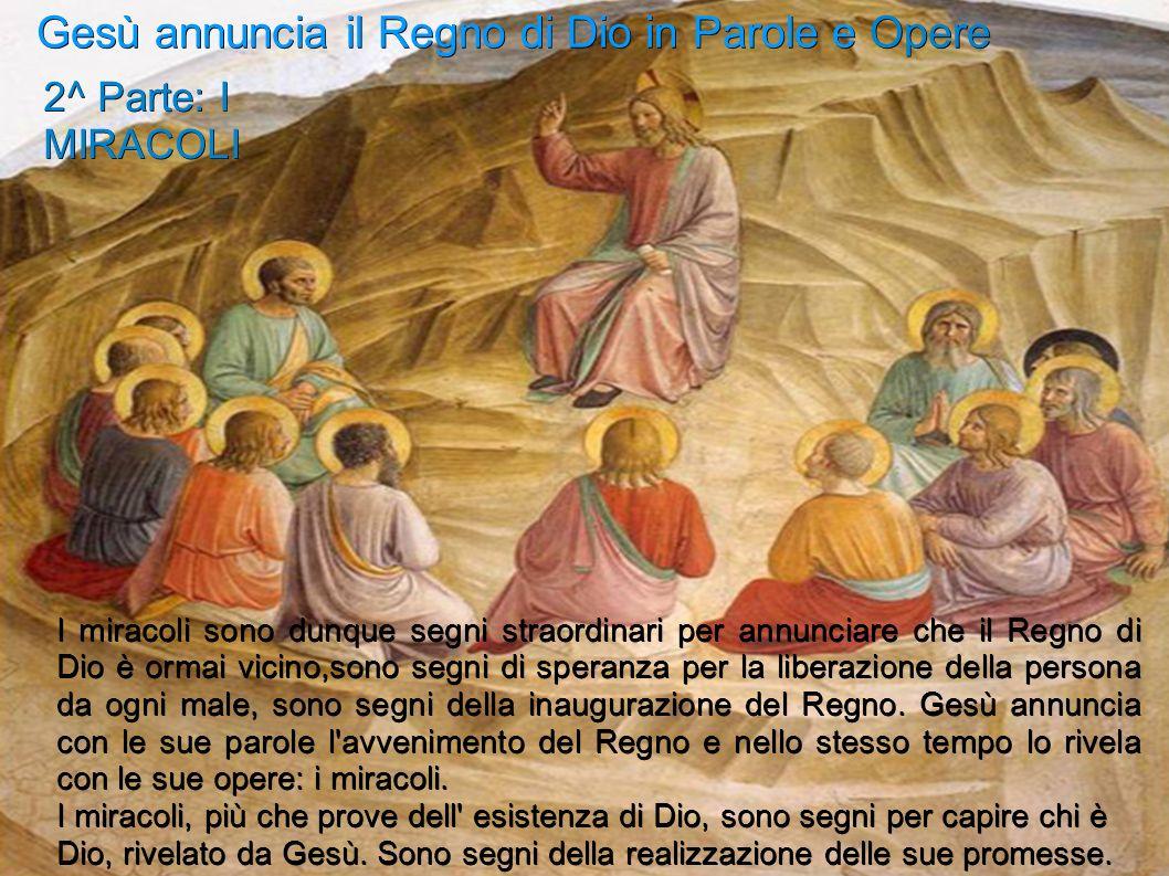 Gesù annuncia il Regno di Dio in Parole e Opere