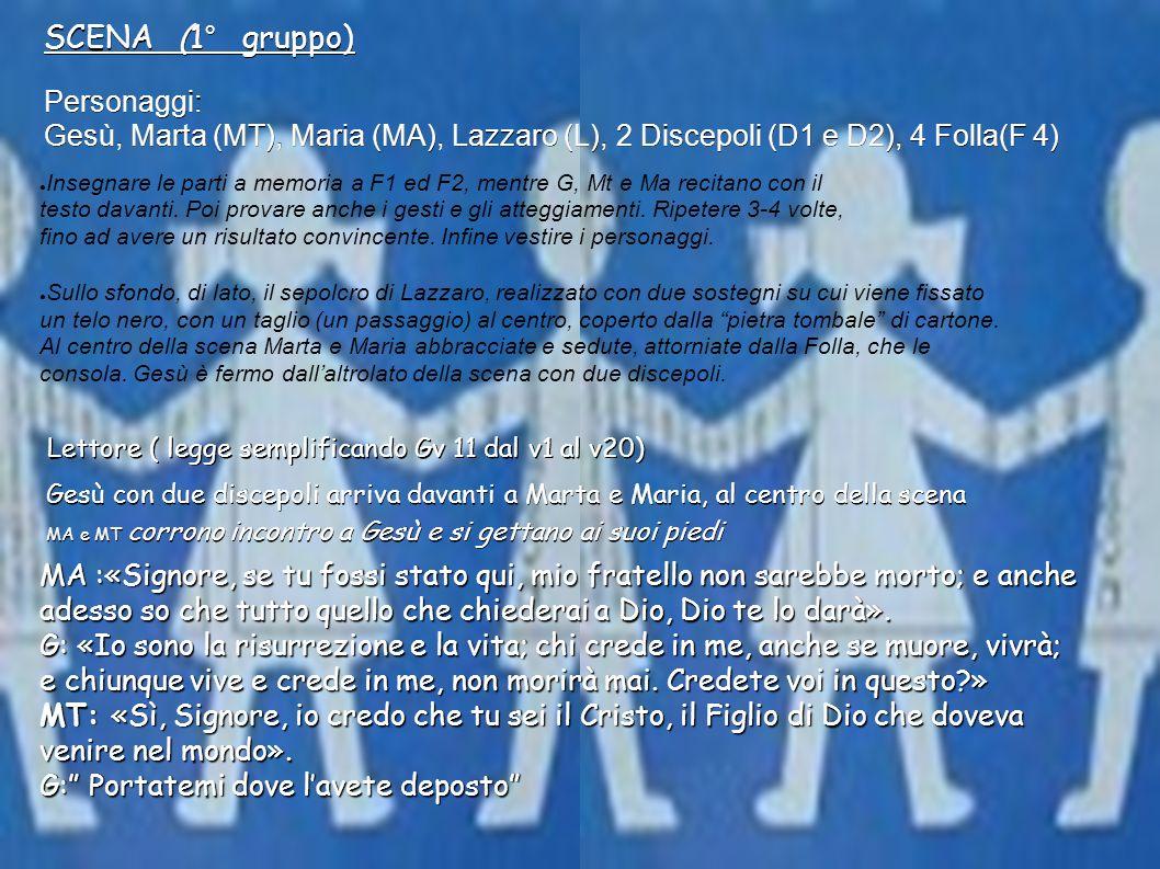 SCENA (1° gruppo) Personaggi: