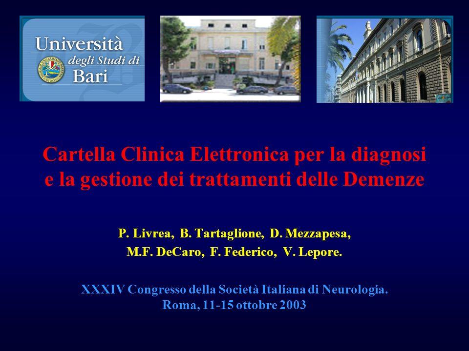 Cartella Clinica Elettronica per la diagnosi e la gestione dei trattamenti delle Demenze