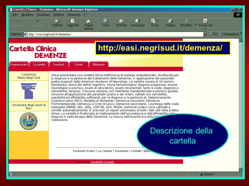 http://easi.negrisud.it/demenza/ Descrizione della cartella