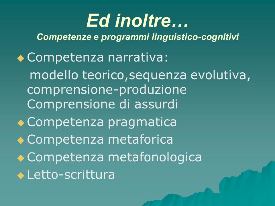 Ed inoltre… Competenze e programmi linguistico-cognitivi