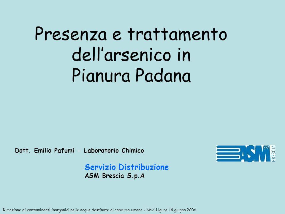 Presenza e trattamento dell'arsenico in Pianura Padana