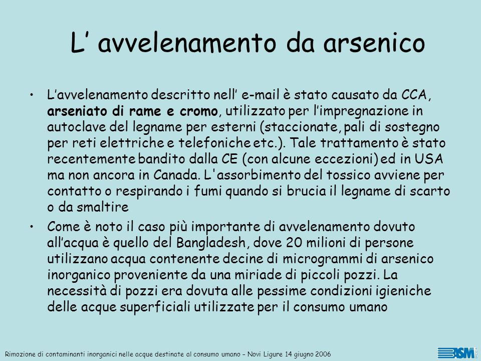 L' avvelenamento da arsenico