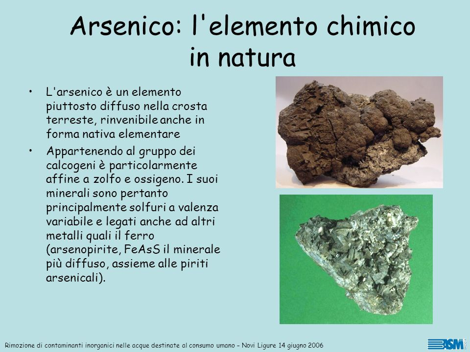 Arsenico: l elemento chimico in natura