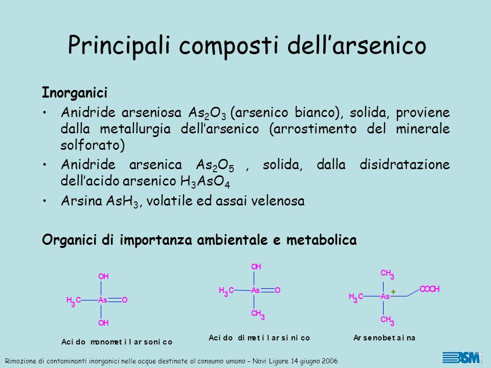 Principali composti dell'arsenico