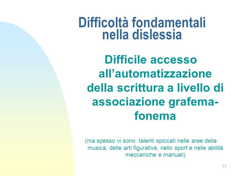 Difficoltà fondamentali nella dislessia