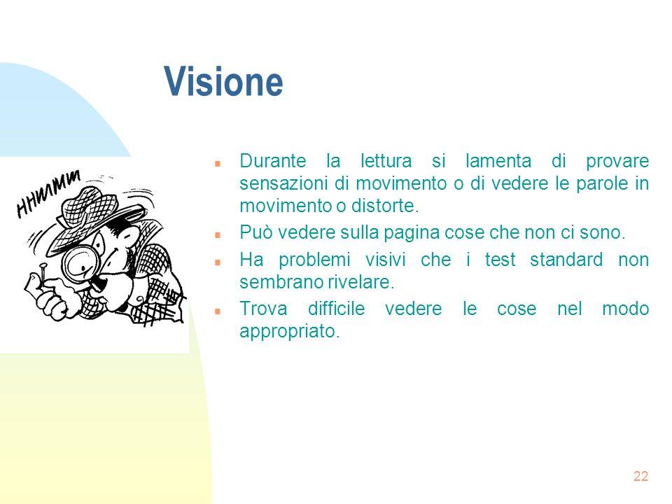 Visione Durante la lettura si lamenta di provare sensazioni di movimento o di vedere le parole in movimento o distorte.