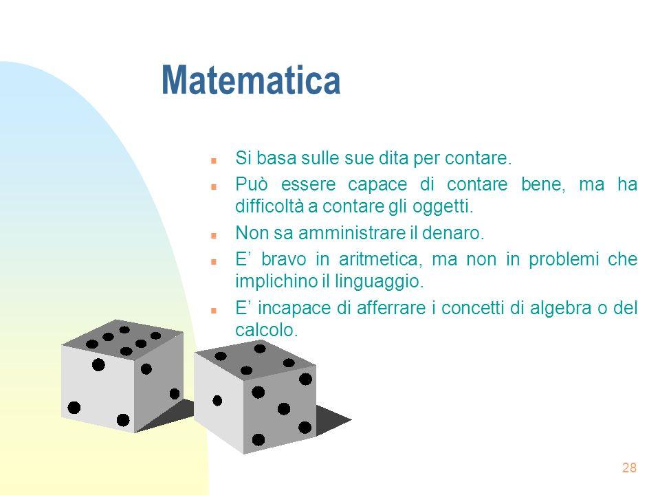 Matematica Si basa sulle sue dita per contare.