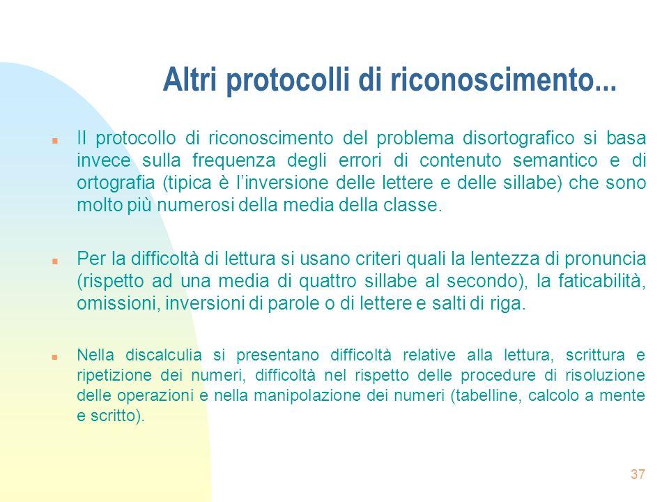 Altri protocolli di riconoscimento...