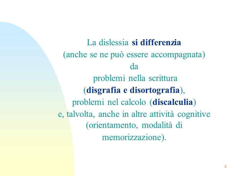 La dislessia si differenzia (anche se ne può essere accompagnata) da