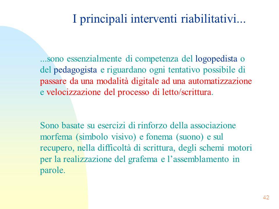I principali interventi riabilitativi...