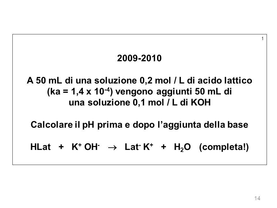 A 50 mL di una soluzione 0,2 mol / L di acido lattico