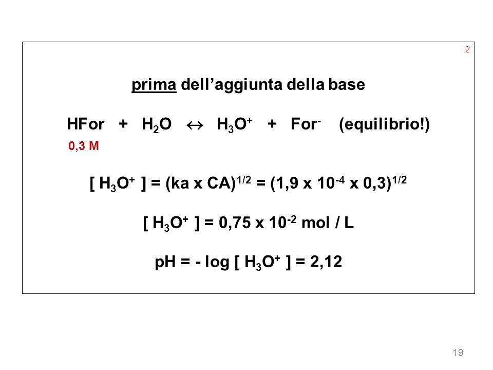 prima dell'aggiunta della base HFor + H2O  H3O+ + For- (equilibrio!)