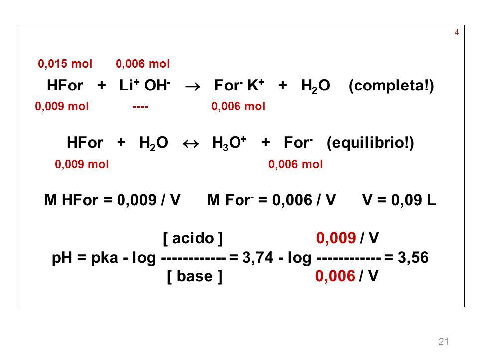 HFor + Li+ OH-  For- K+ + H2O (completa!)