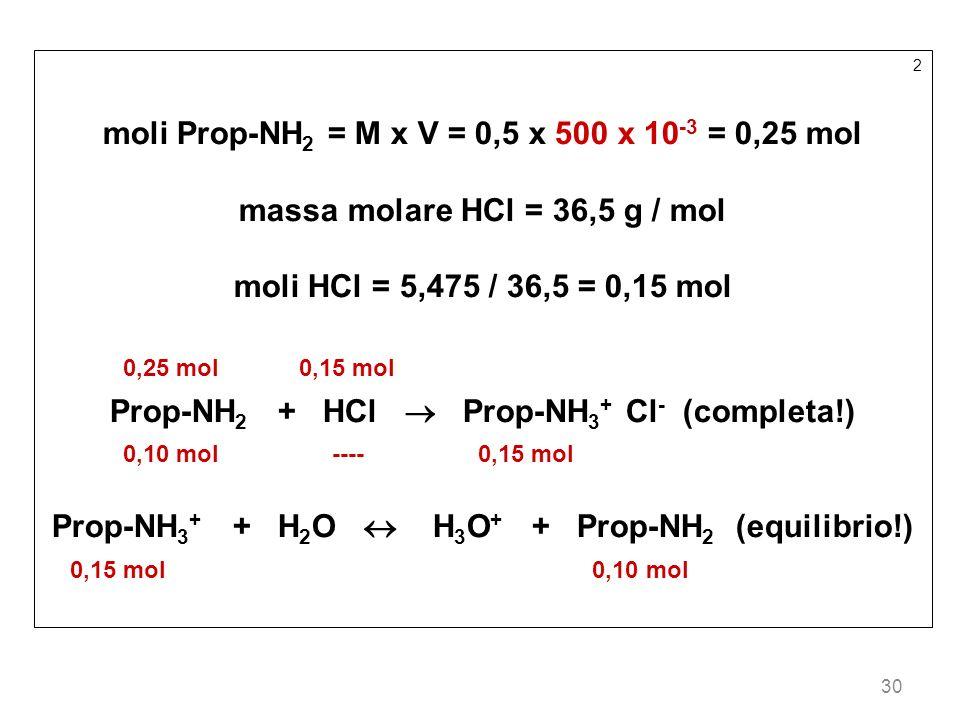 moli Prop-NH2 = M x V = 0,5 x 500 x 10-3 = 0,25 mol