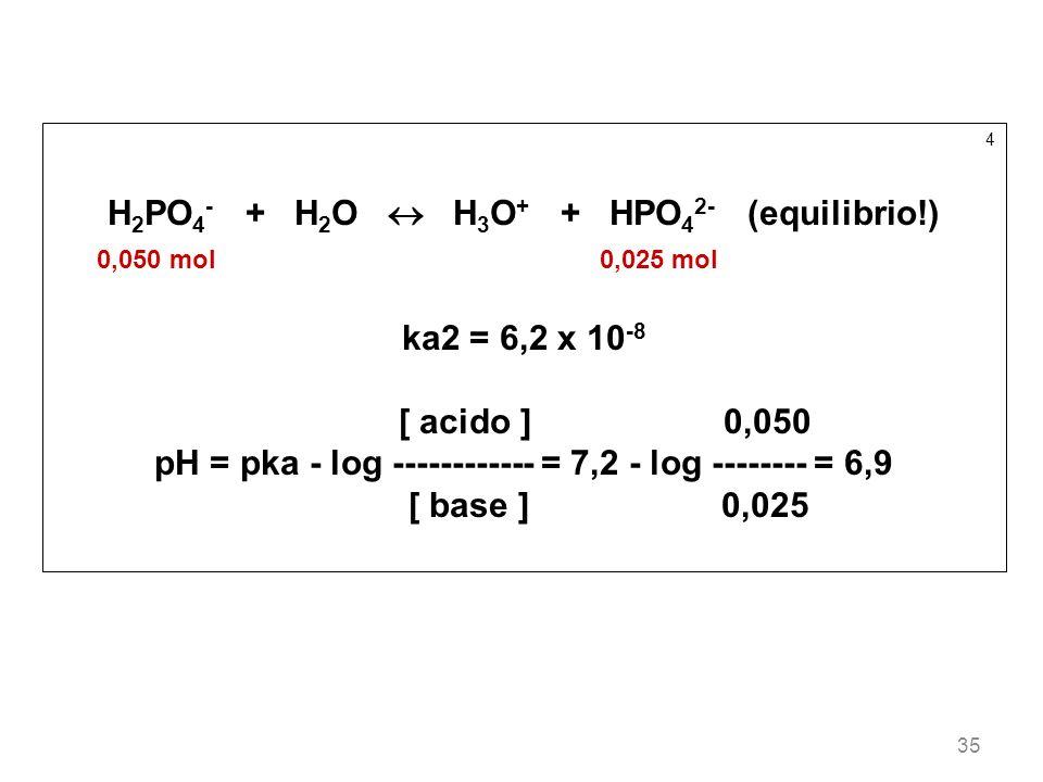 H2PO4- + H2O  H3O+ + HPO42- (equilibrio!)